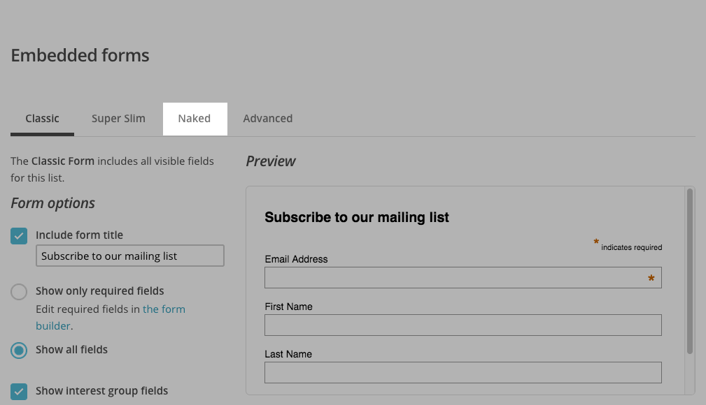 Naked Mailchimp form type