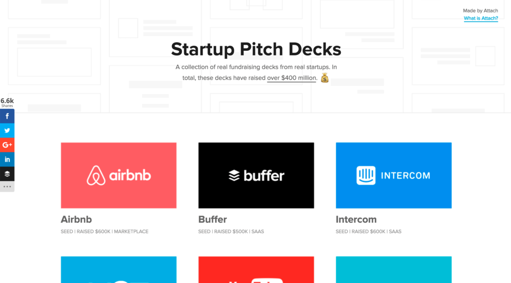 A collection of real fundraising decks from real startups.