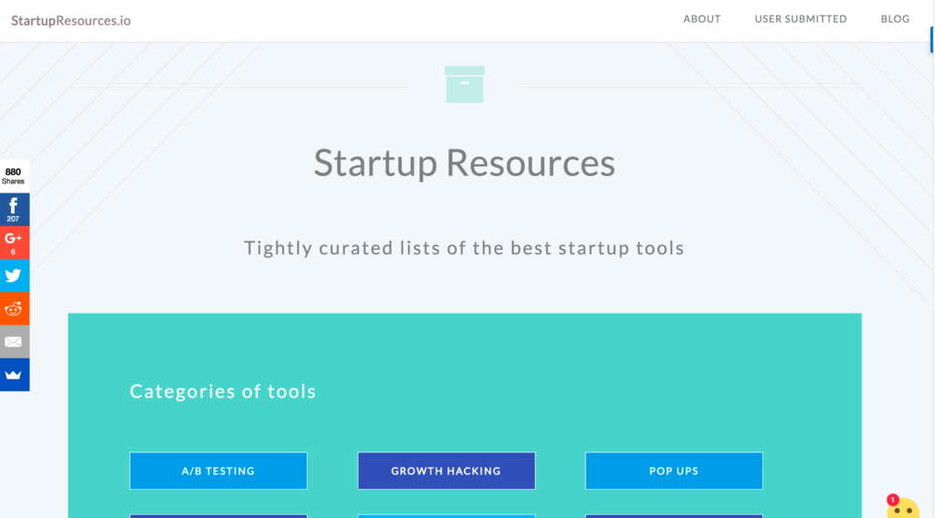 Tightly curated lists of the best startup tools.